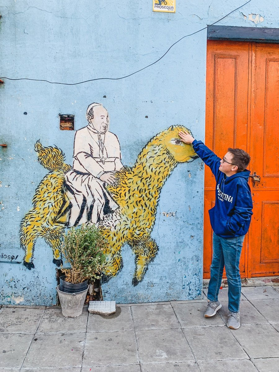Mural of Pope Francis in La Boca, Buenos Aires with kids