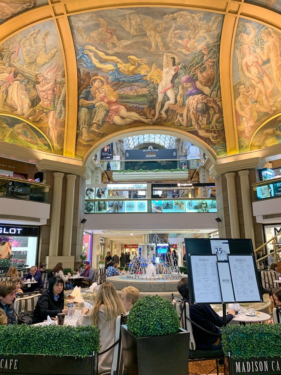 Murals at Galerias Pacifico shopping mall in Buenos Aires, Argentina