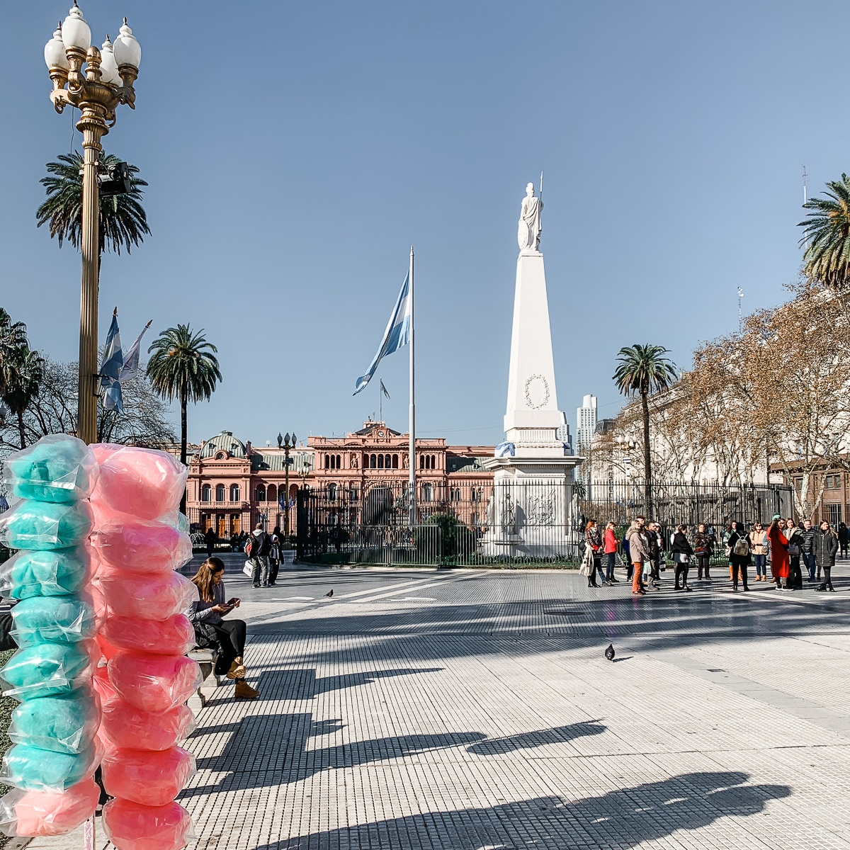 Cotton candy for sale at Plaza de Mayo