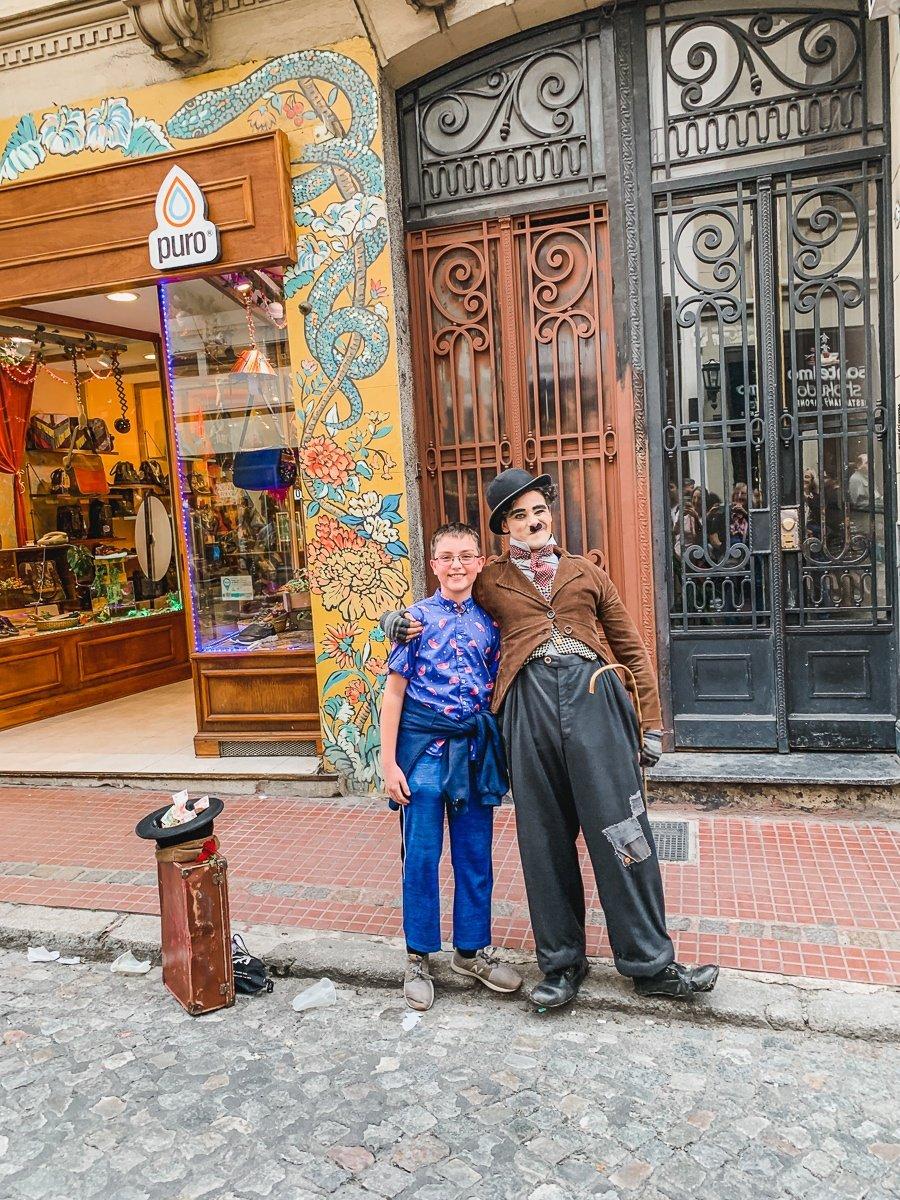 Charlie Chaplin street performer at the San Telmo Sunday Market