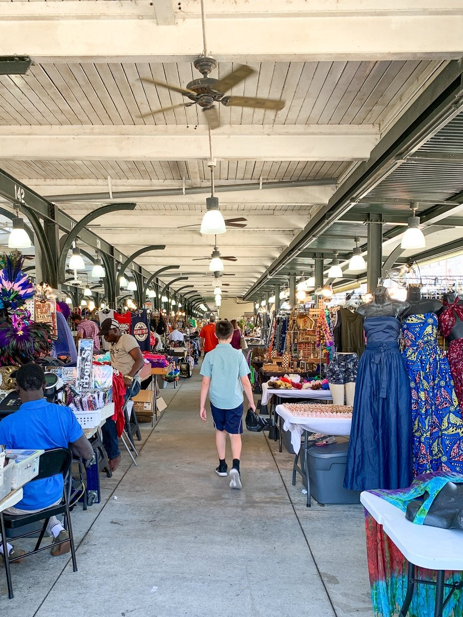 Shopping in the French Market in New Orleans with kids
