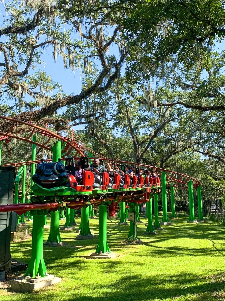 Live Oak Lady Bug Rollercoaster at Carousel Gardens Amusement Park for kids in New Orleans