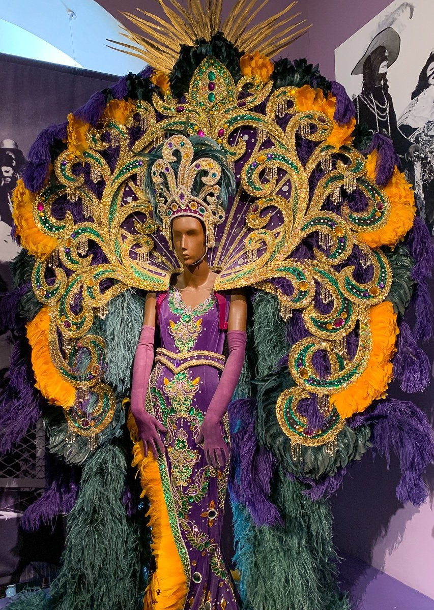 An elaborate Mardi Gras costume at the Presbytère in New Orleans