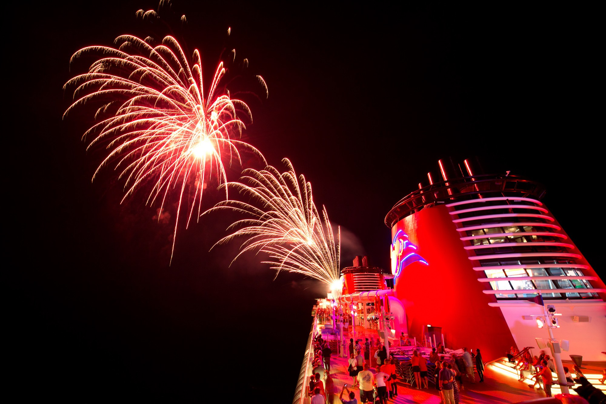 Disney fireworks at sea