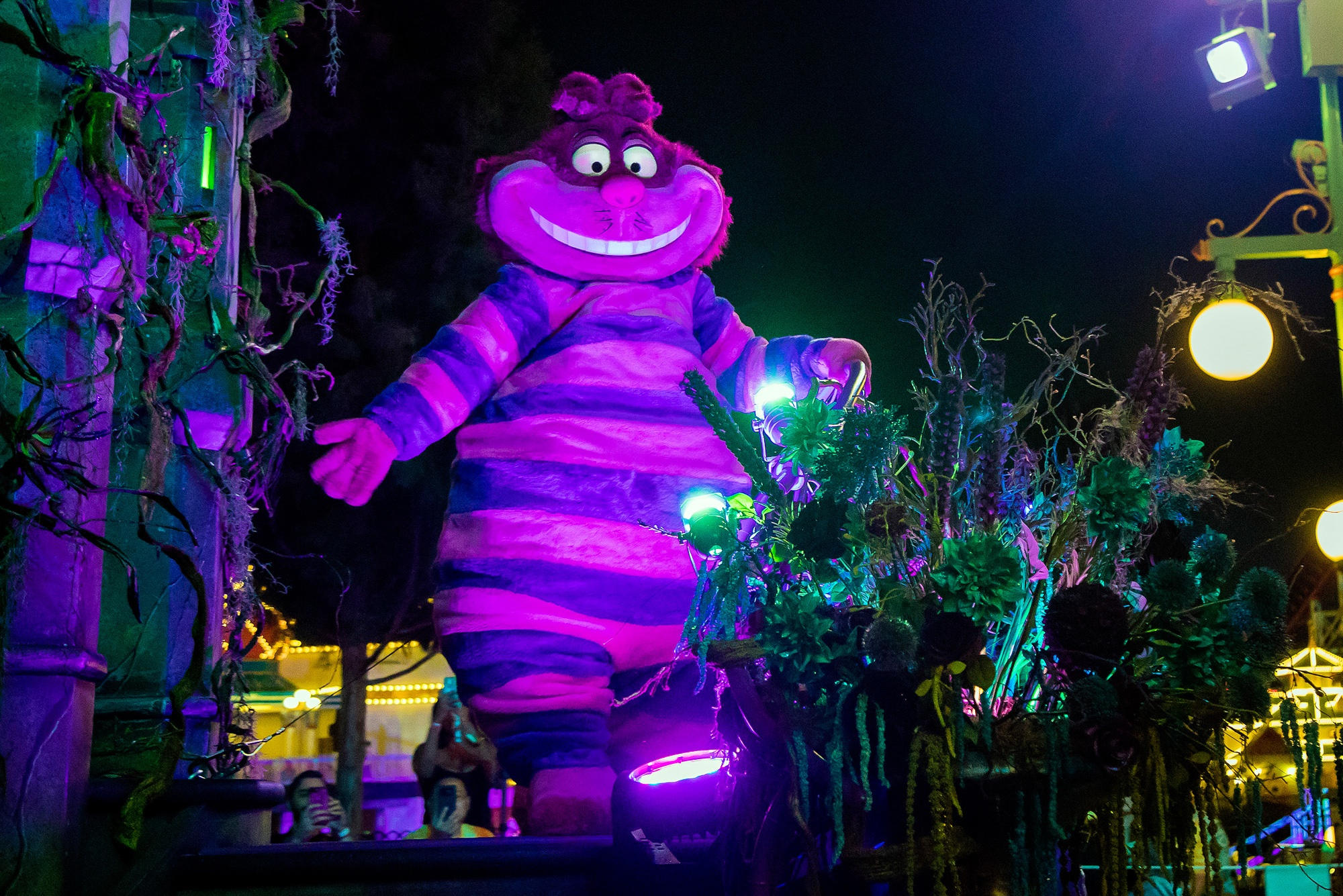 Cheshire Cat in Frightfully Fun Parade at Halloween at Disneyland