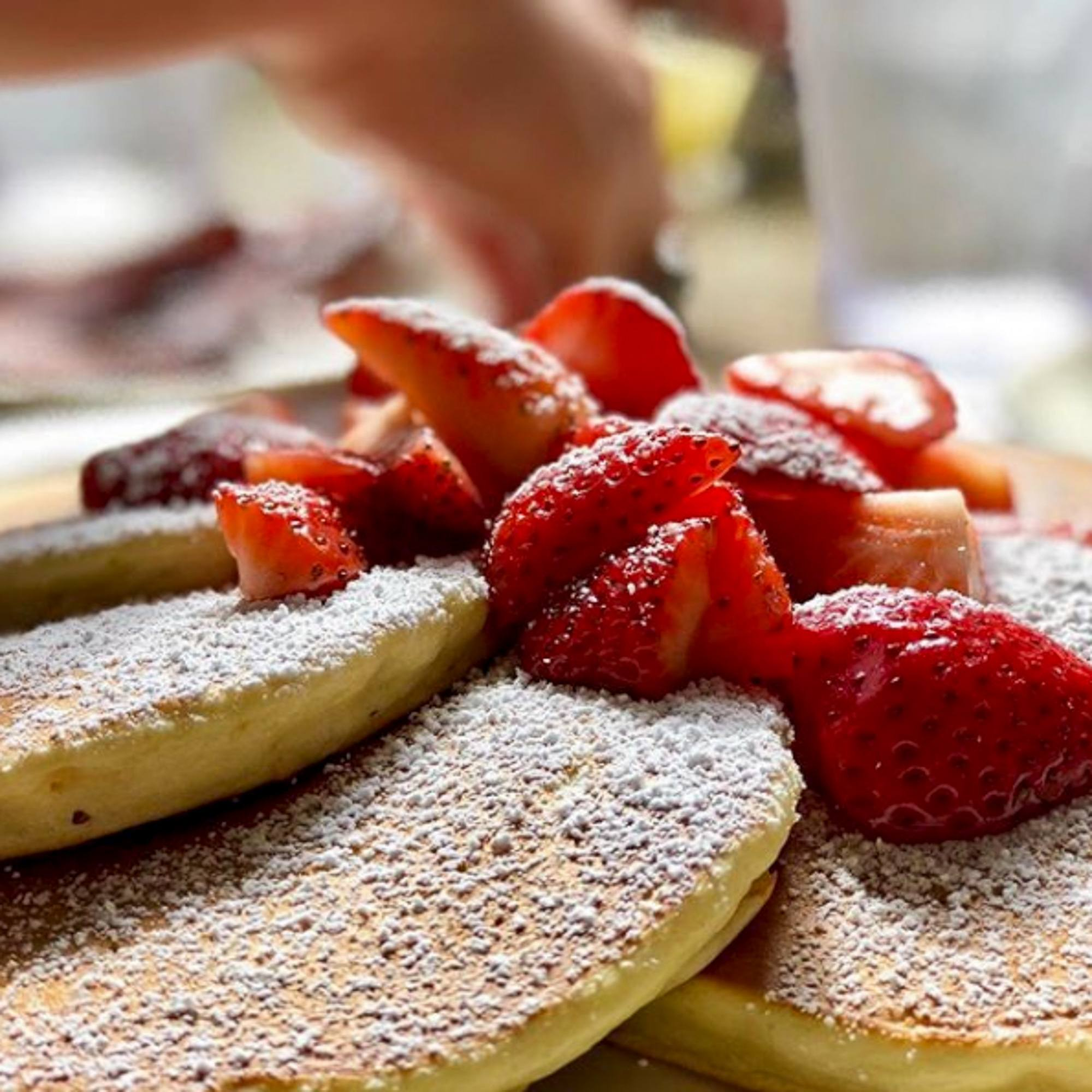 Strawberry pancakes from Richard Walker's Pancake House in San Diego's Gaslamp Quarter