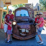 Meeting Tow Mater at Cars Land Disney theme park