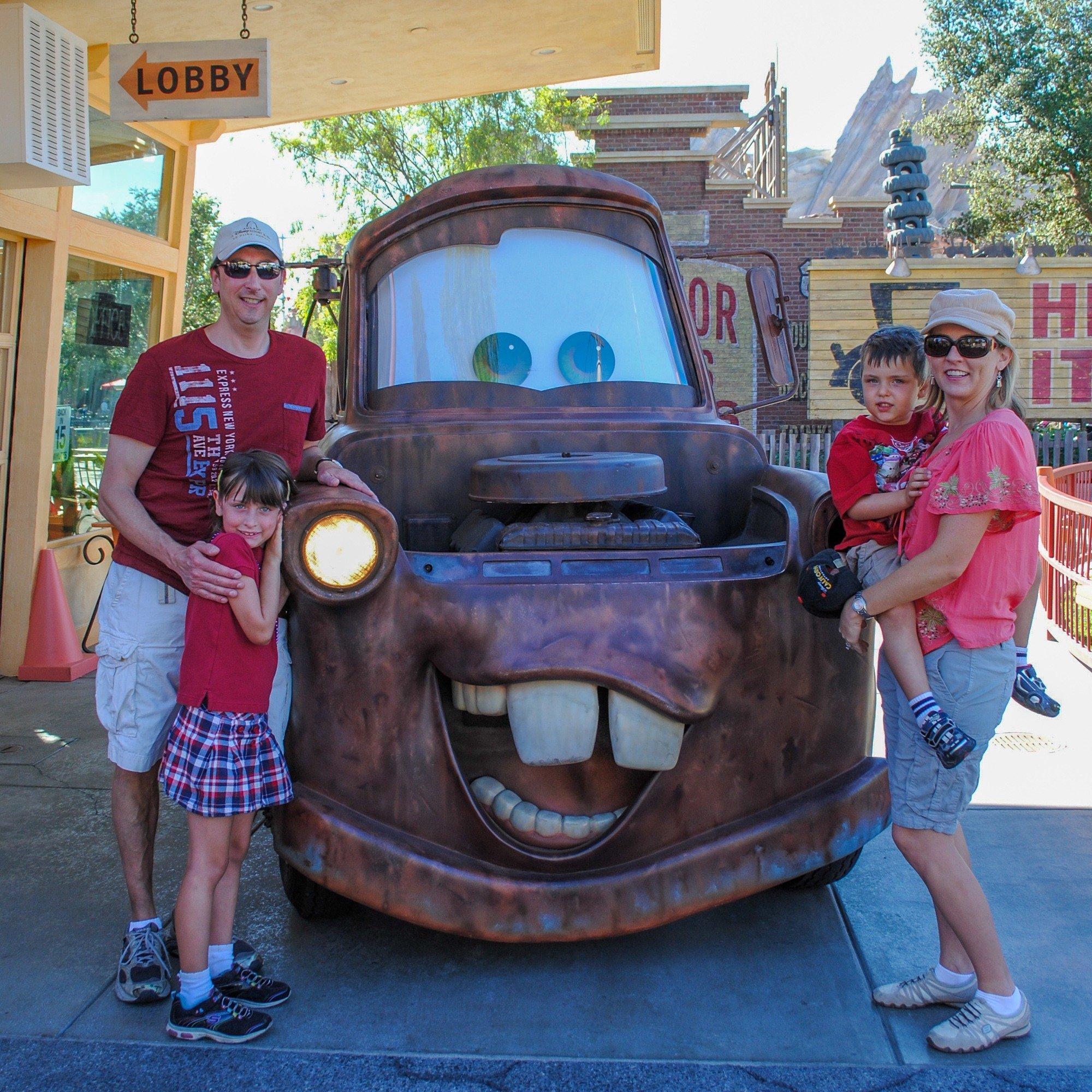 Meeting Tow Mater at Cars Land Disney theme park