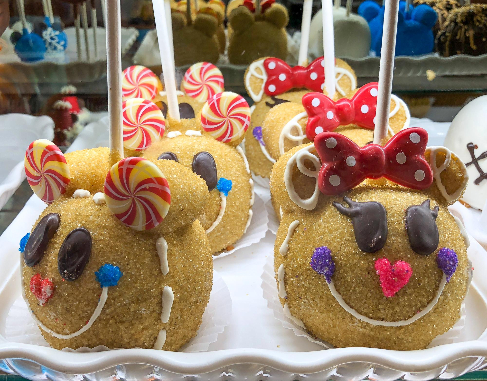 Holiday-themed candied apples at Disneyland
