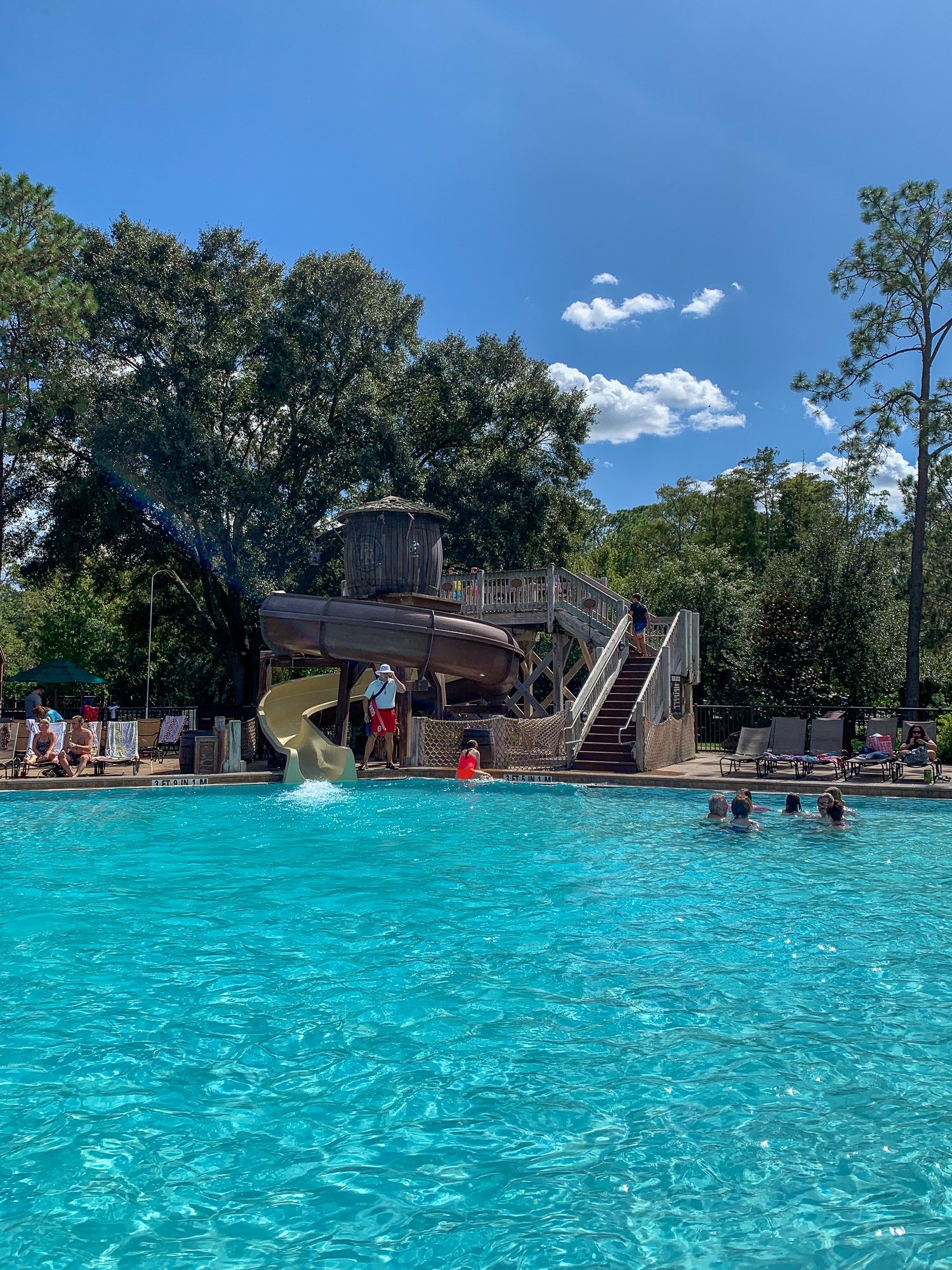 Swimming pool with waterslide at Disney's Fort Wilderness Resort