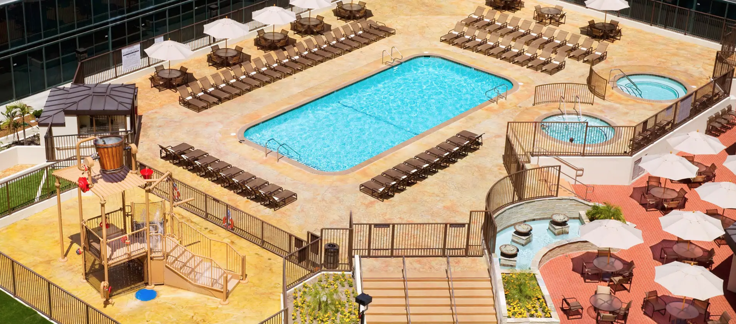Outdoor pool and splash areas at Hilton Anaheim