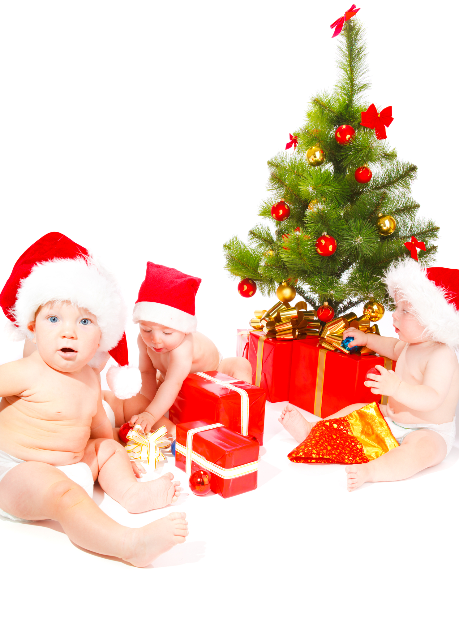 Babies with Christmas decorations