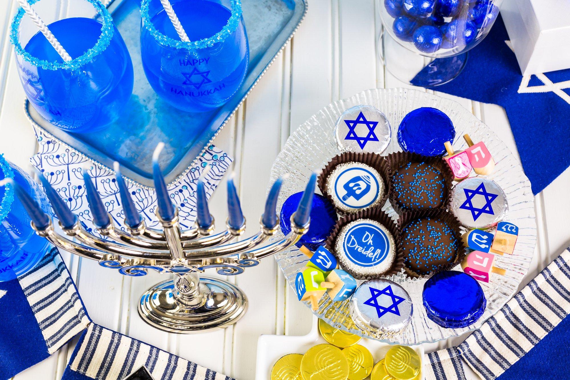 Hanukkah party tablescape