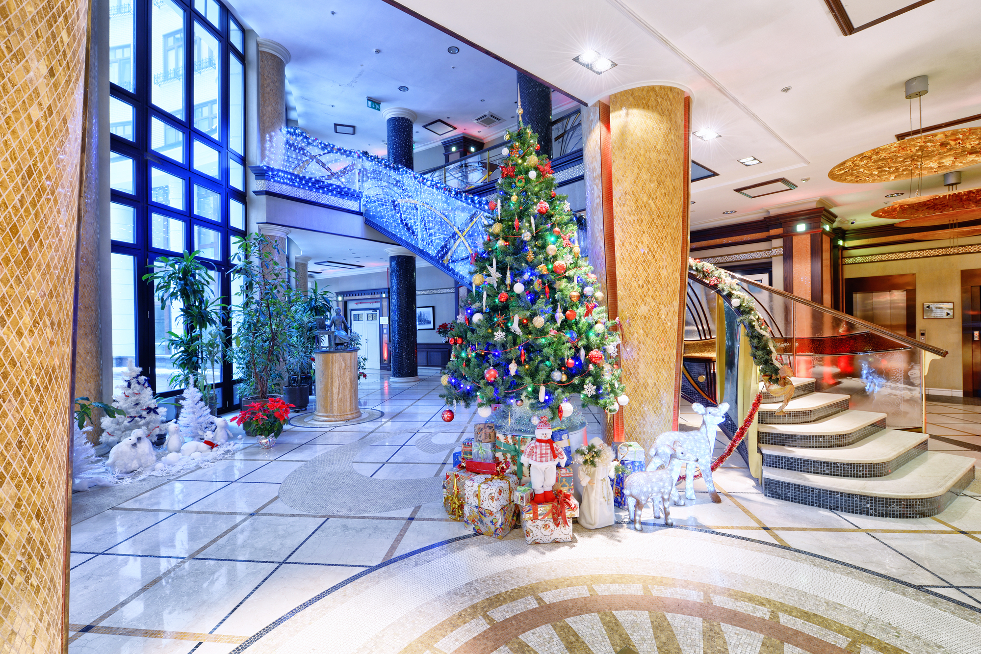 Hotel lobby decorated for the holidays