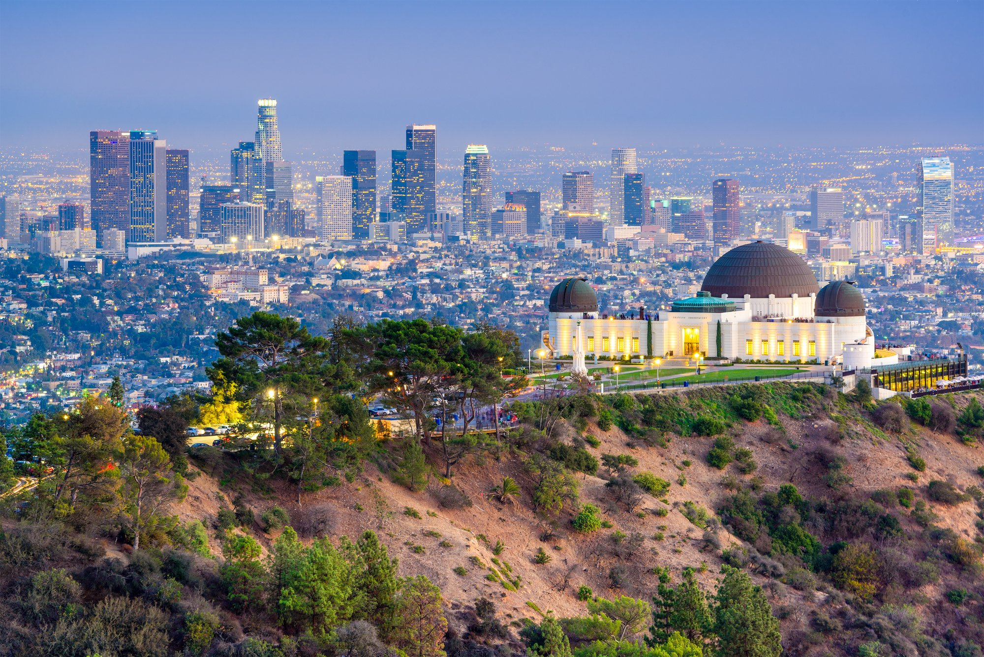 Griffith Park and the Griffith Observatory L.A. skyline view