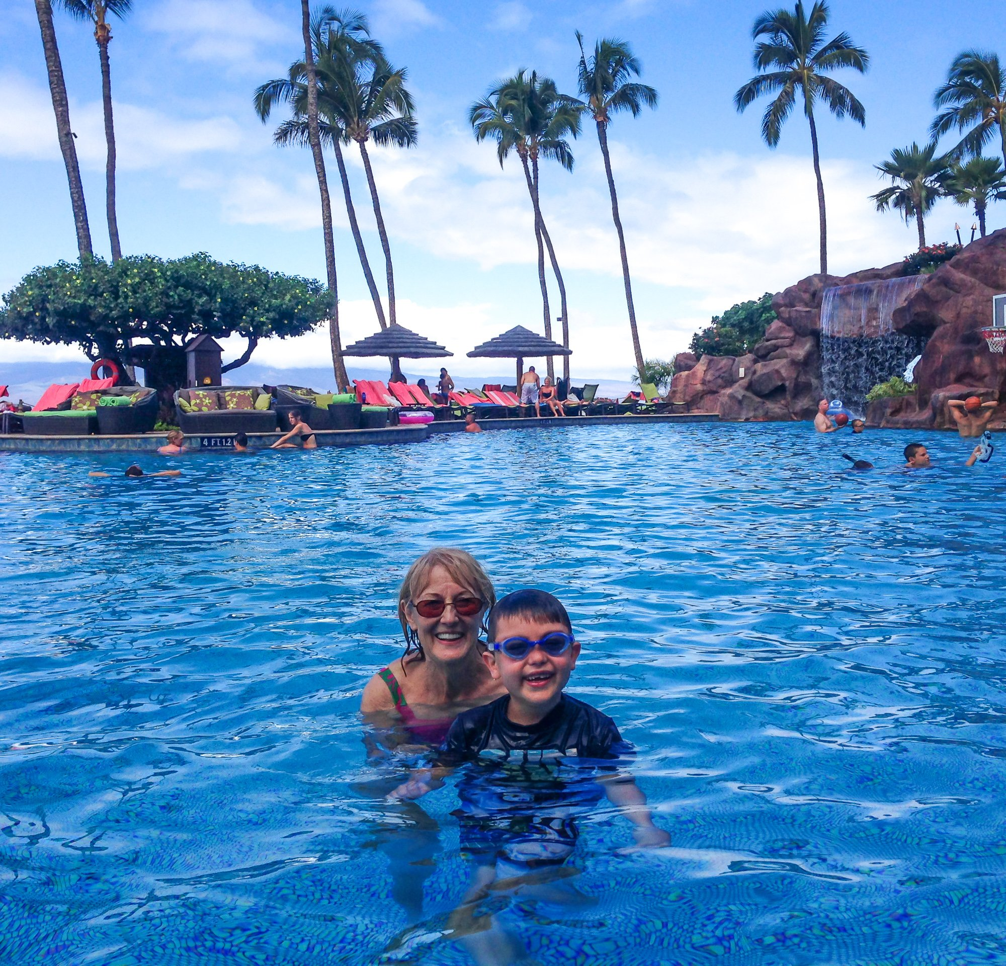 Grandma and son swimming together at Sheraton Maui
