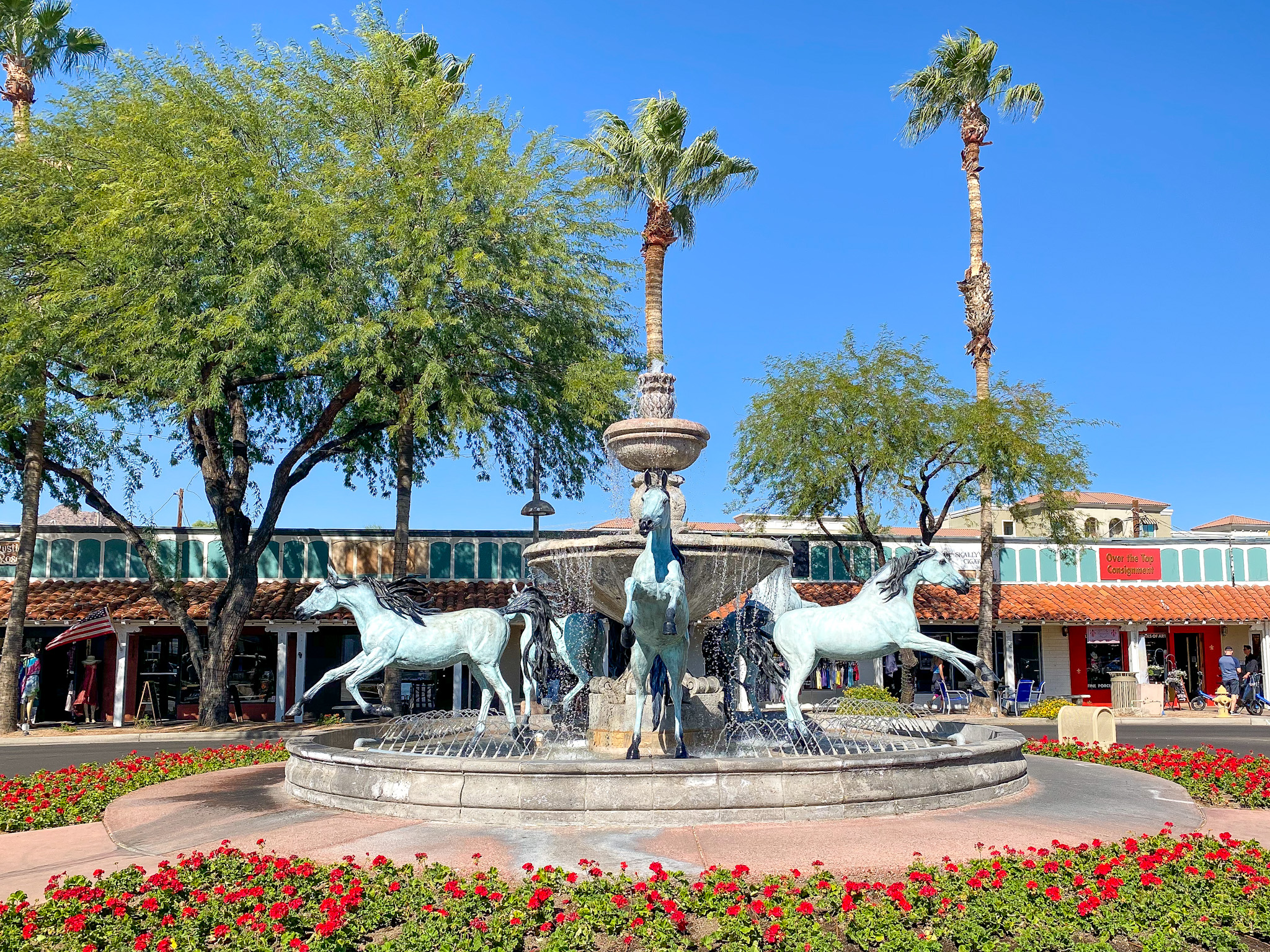Old Bronze Horse Fountain in Old Town Scottsdale