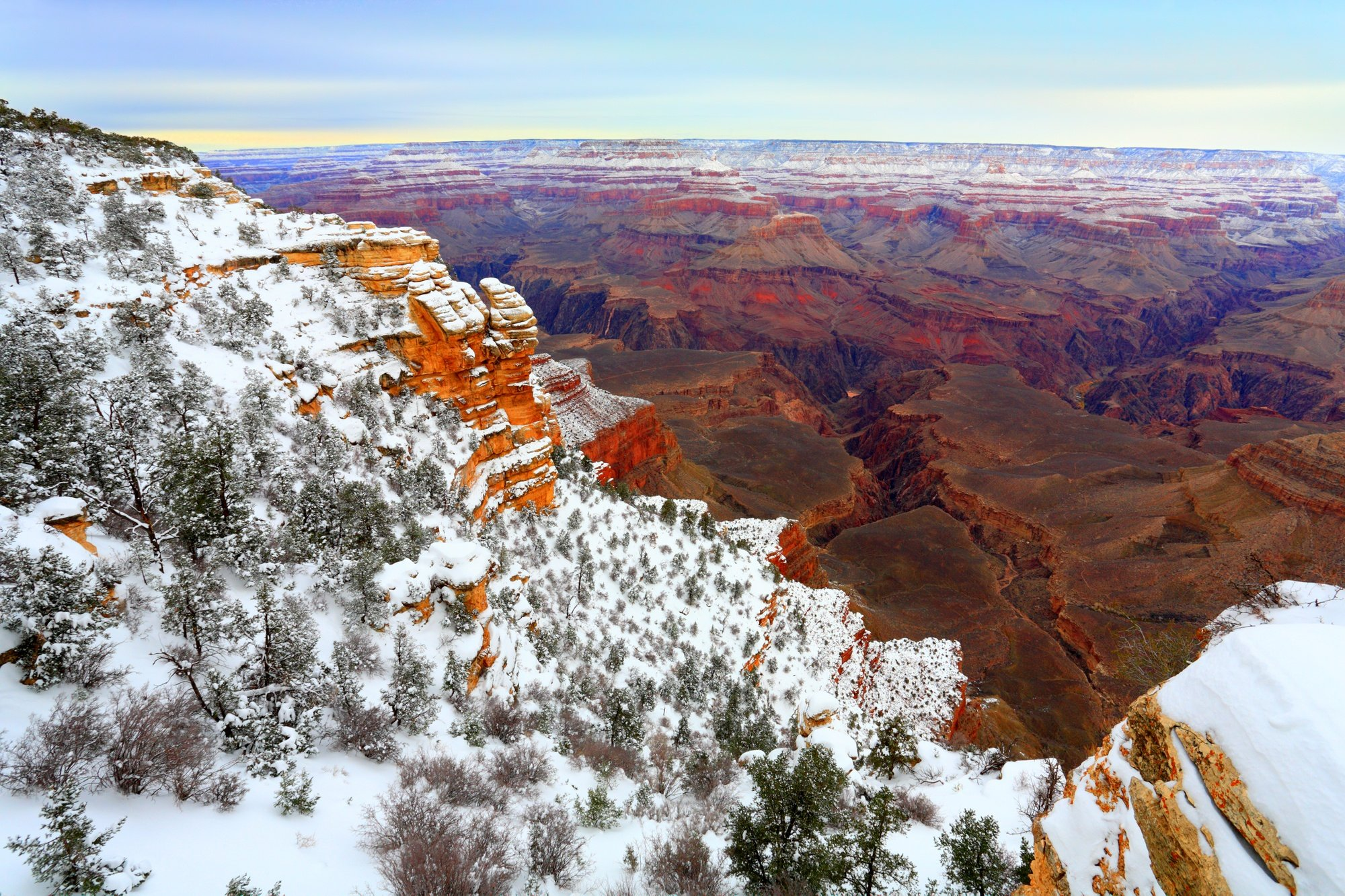 Snow at the Grand Canyon in winter