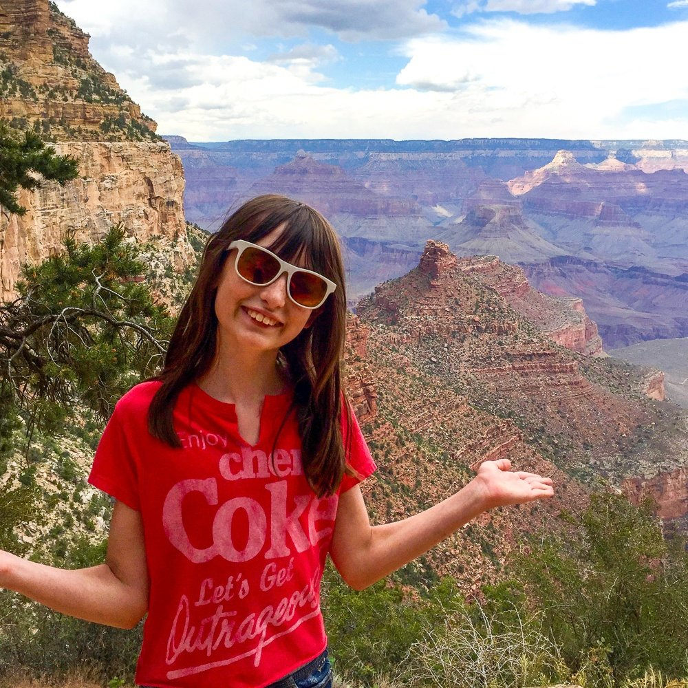 Bright Angel Trail at the Grand Canyon with kids
