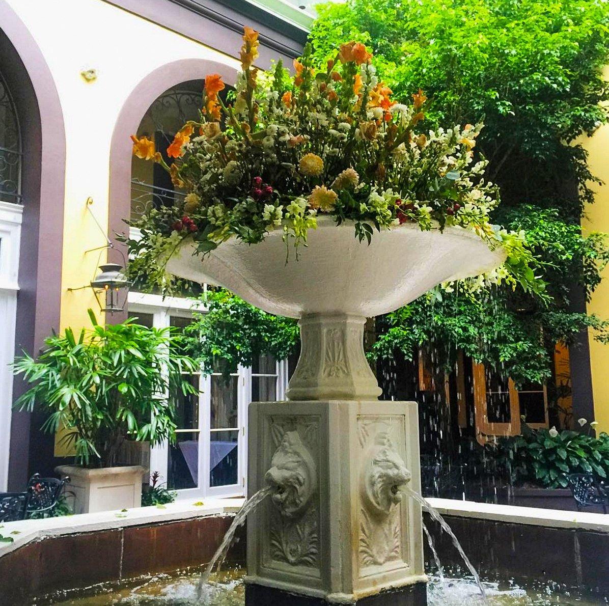 Courtyard fountain at Hotel Mazarin