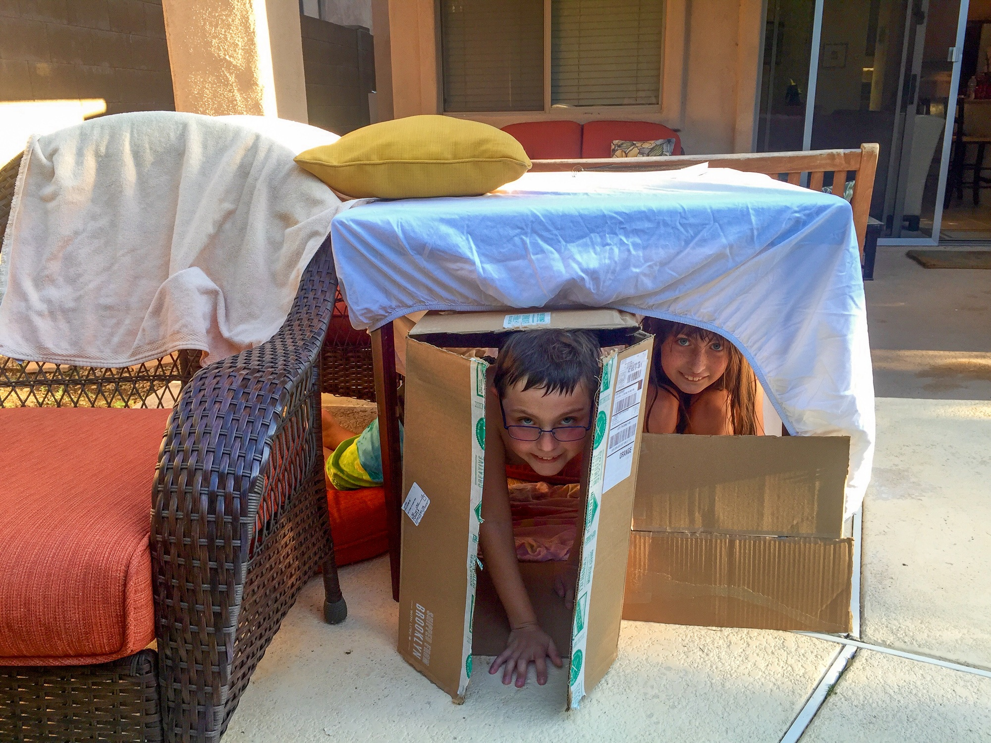 Backyard fort built by kids