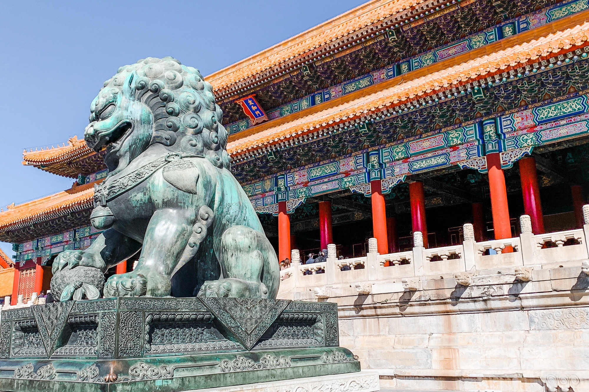 Lion statue in the Forbidden City in Beijing, China