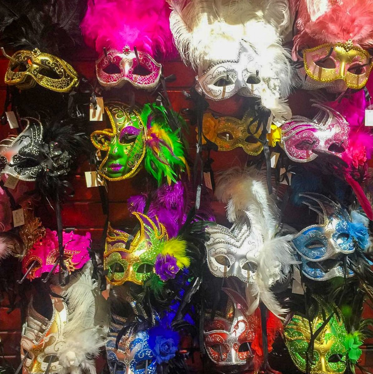Mardi Gras masks for sale on Bourbon Street