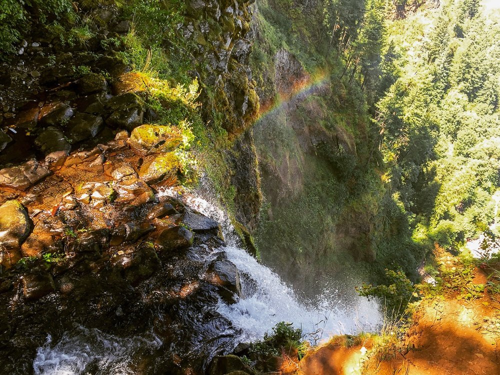 Rainbow at the top of Multnomah Falls