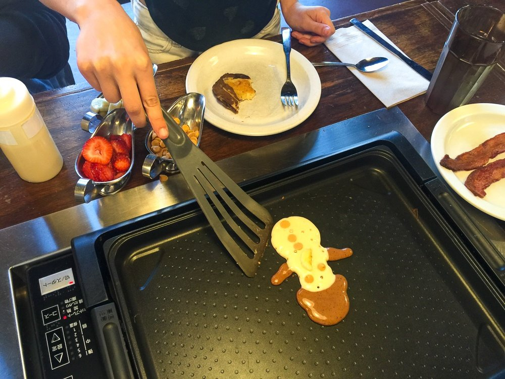 Make your own pancakes at Slappy Cakes in Portland with kids