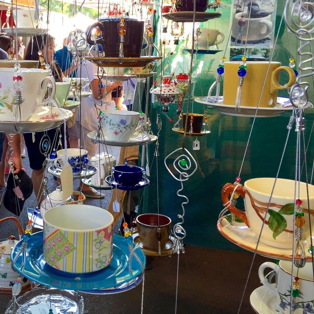 Tea cup bird feeders for sale at Portland Saturday Market