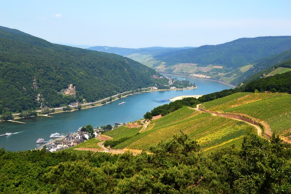 Rhine River view from Rudesheim, Germany