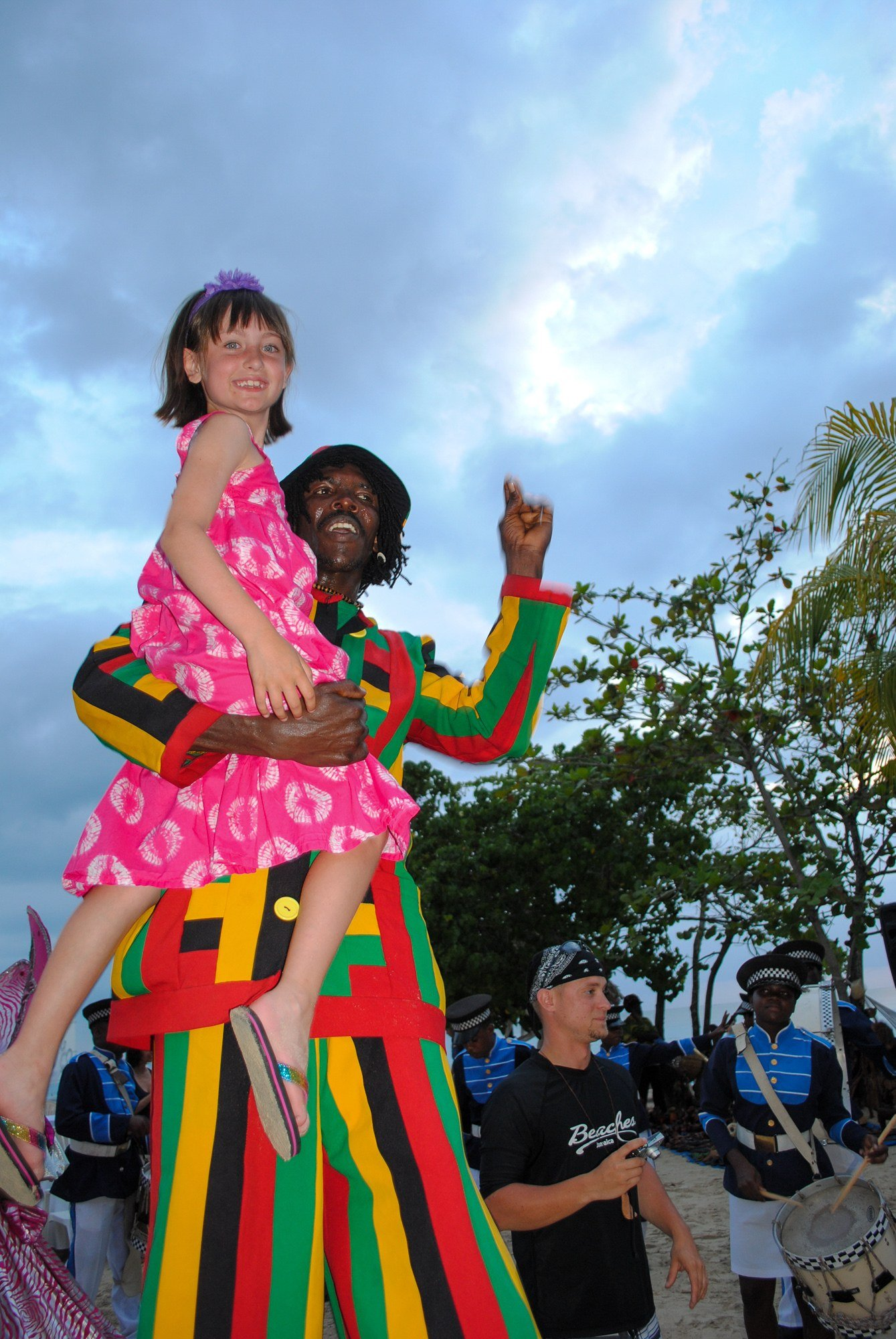Stilt-walker in the Sesame Street Parade at Beaches Negril Resort in Jamaica