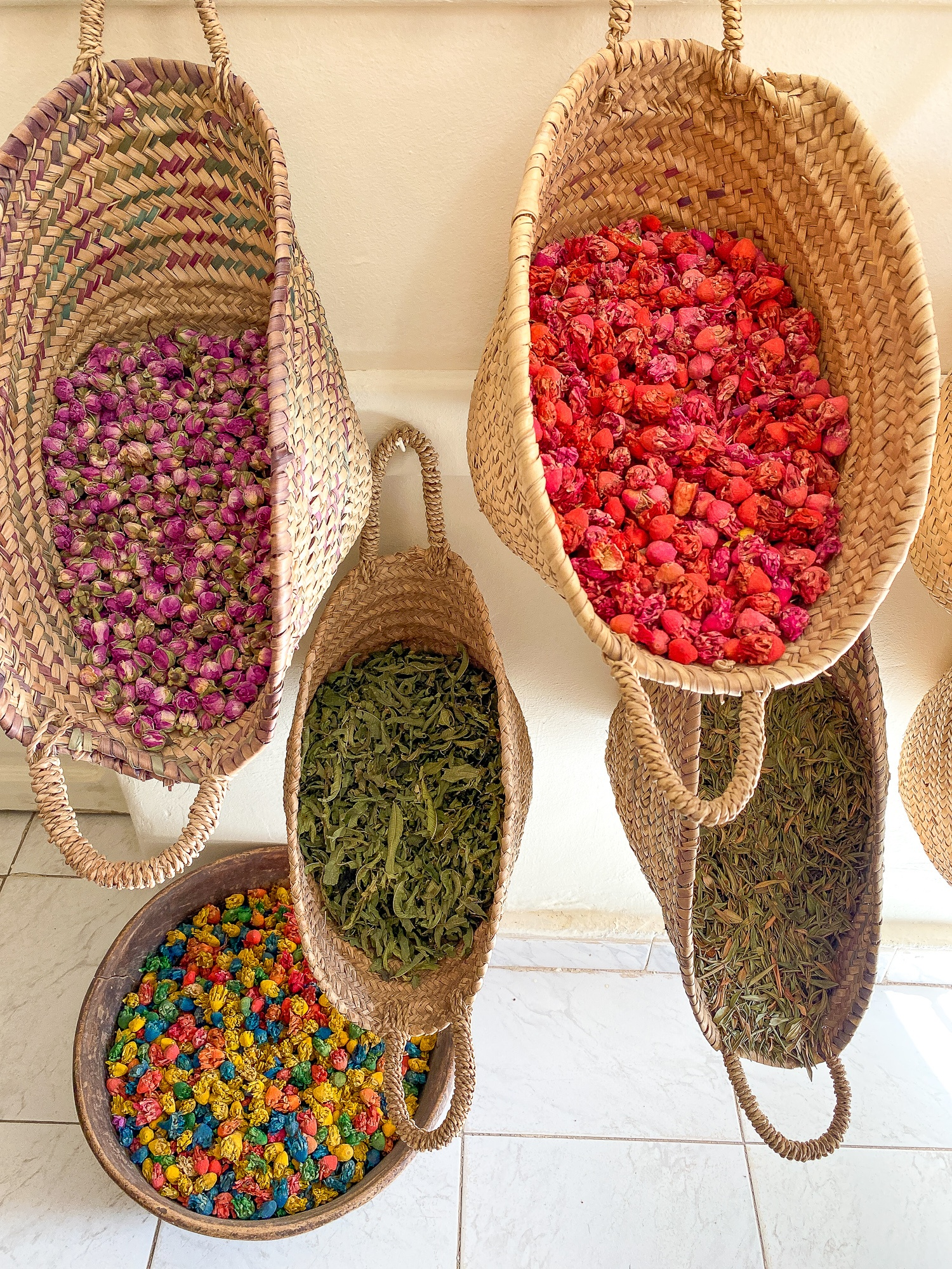 Herbs and spices on display at La Caravane des Épices in Ouarzazate, Morocco