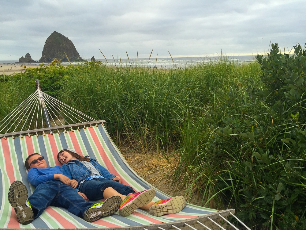 "My kids delighted in finding this ""secret"" hammock hidden among the beach grass at Surfsand Resort"