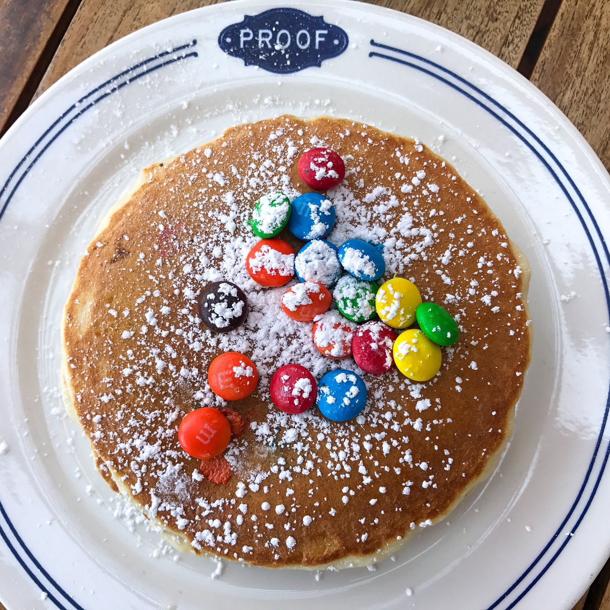 M&M pancakes for kids at Proof