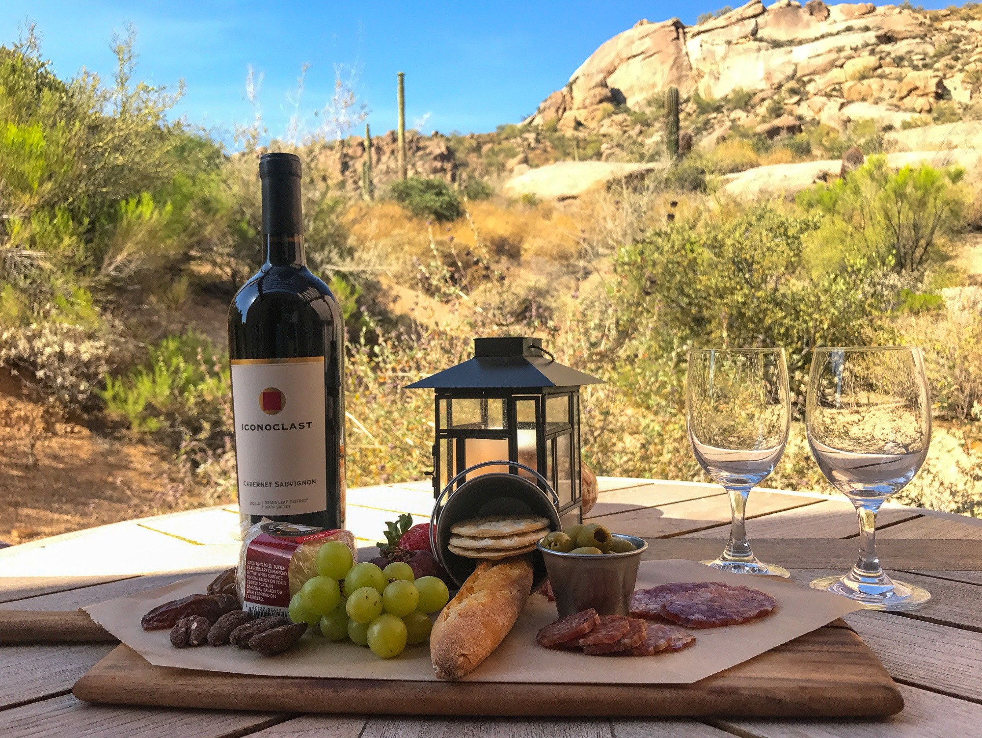 Room service with a desert view at Four Seasons Scottsdale Resort & Spa