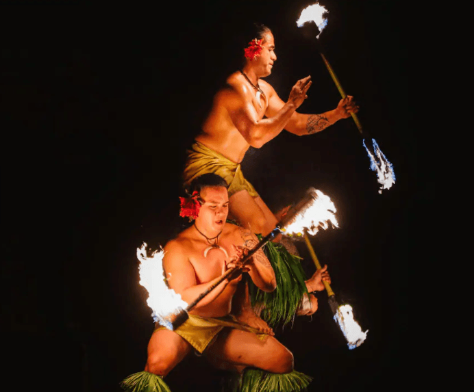 Fire dancers at Drums of the Pacific Luau