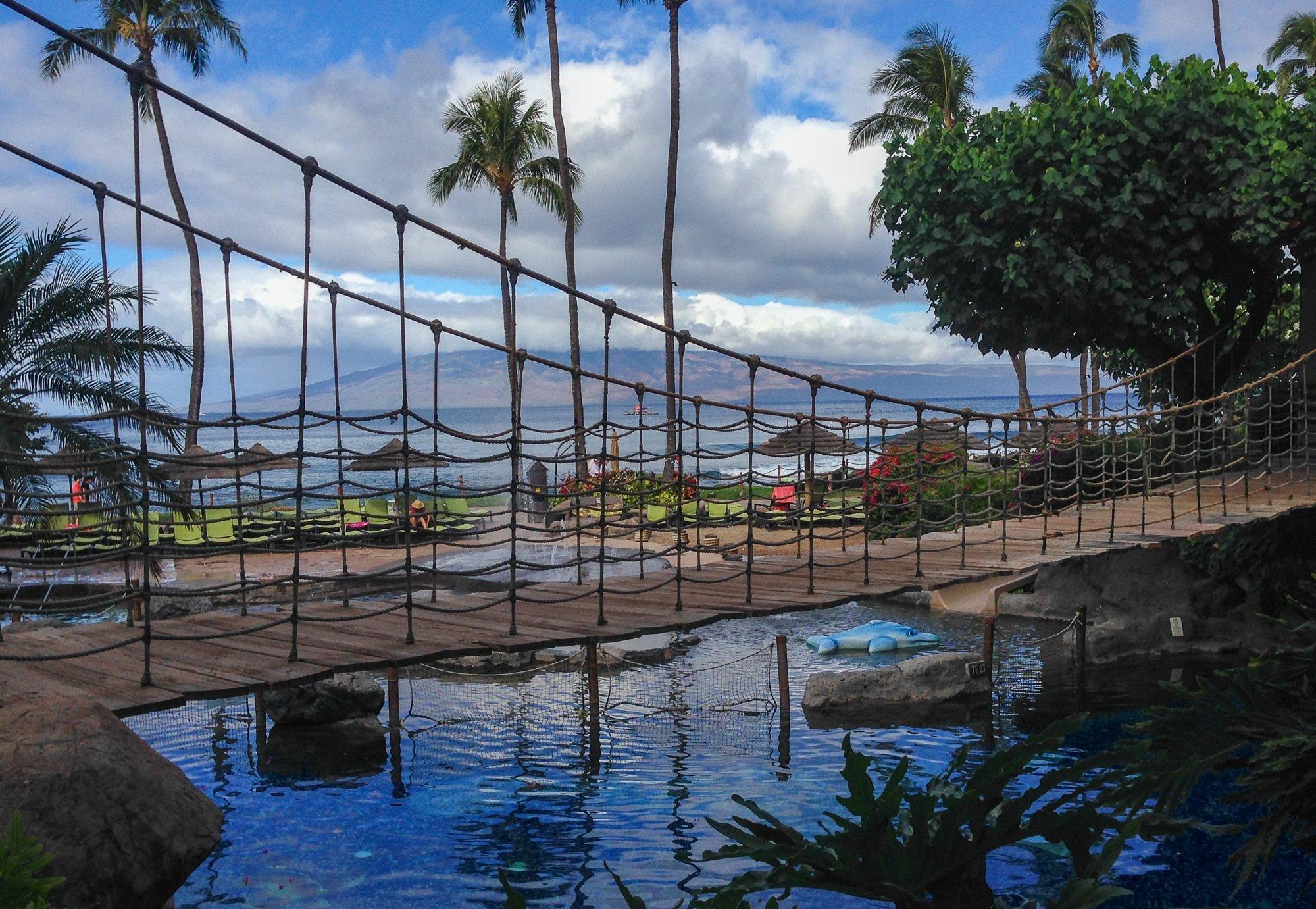 Rope bridge at Hyatt Regency Maui Resort and Spa
