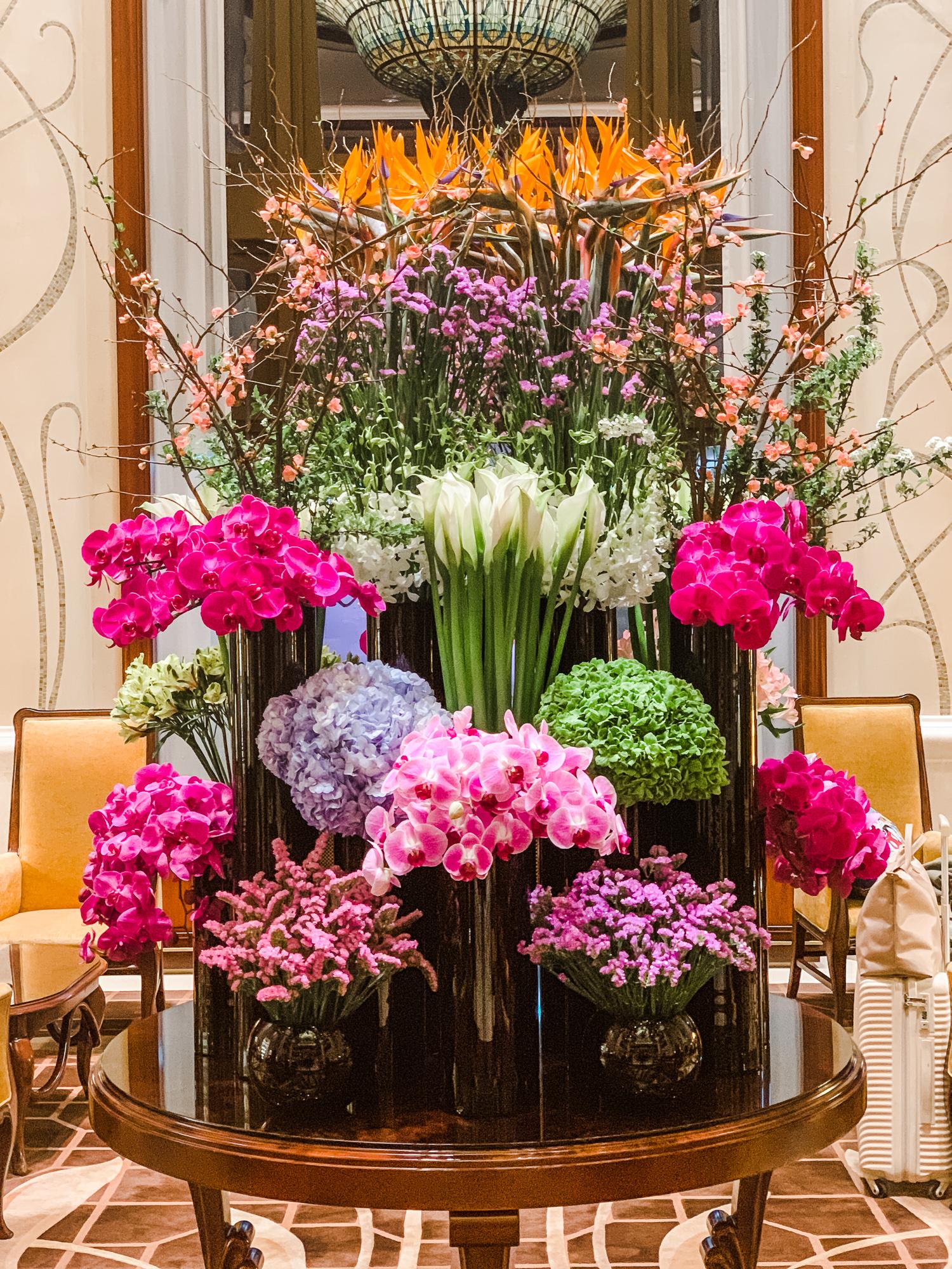 Flower arrangement at Shanghai Disneyland Hotel