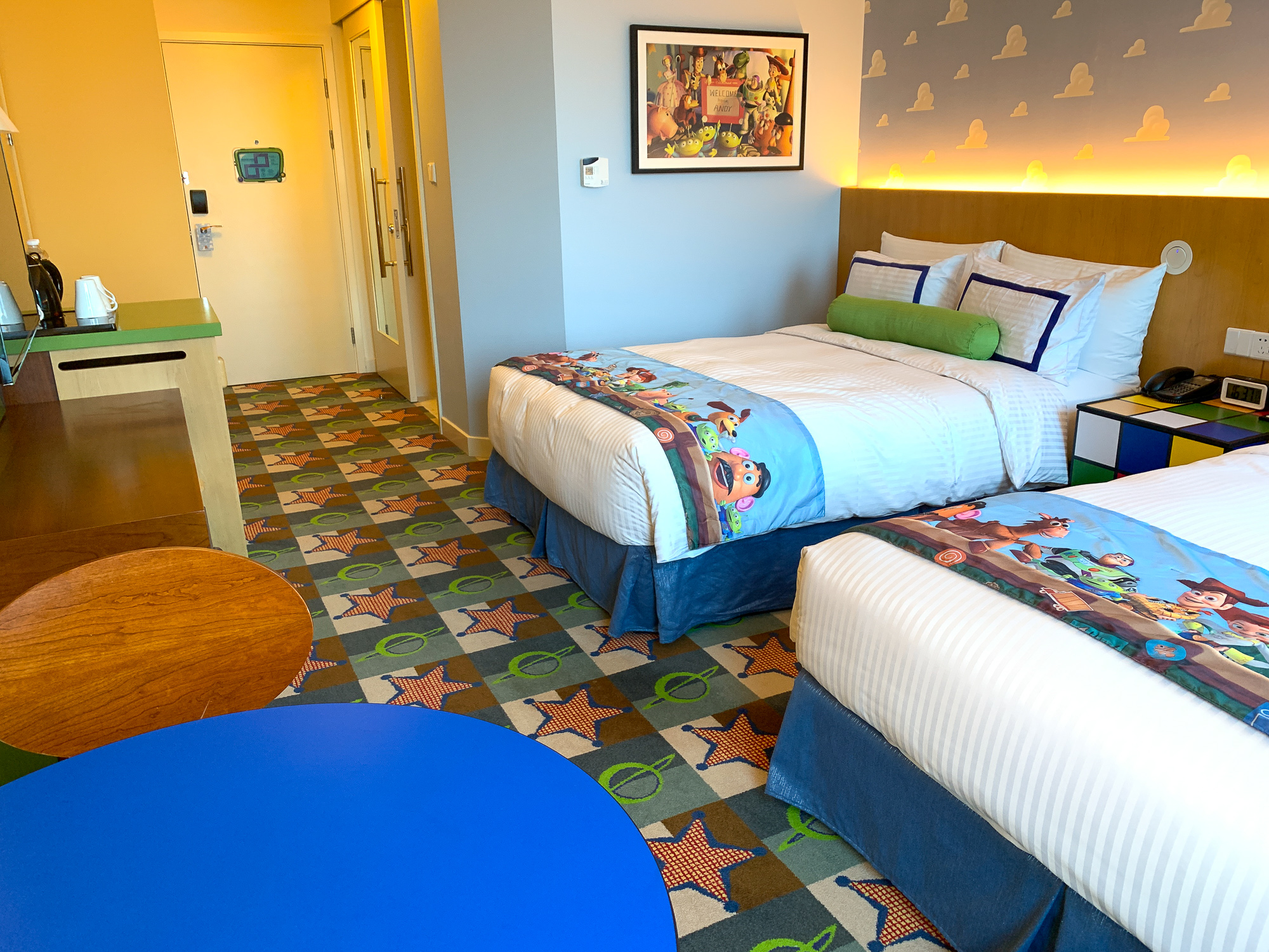 Standard hotel room at the Toy Story Hotel at Shanghai Disneyland