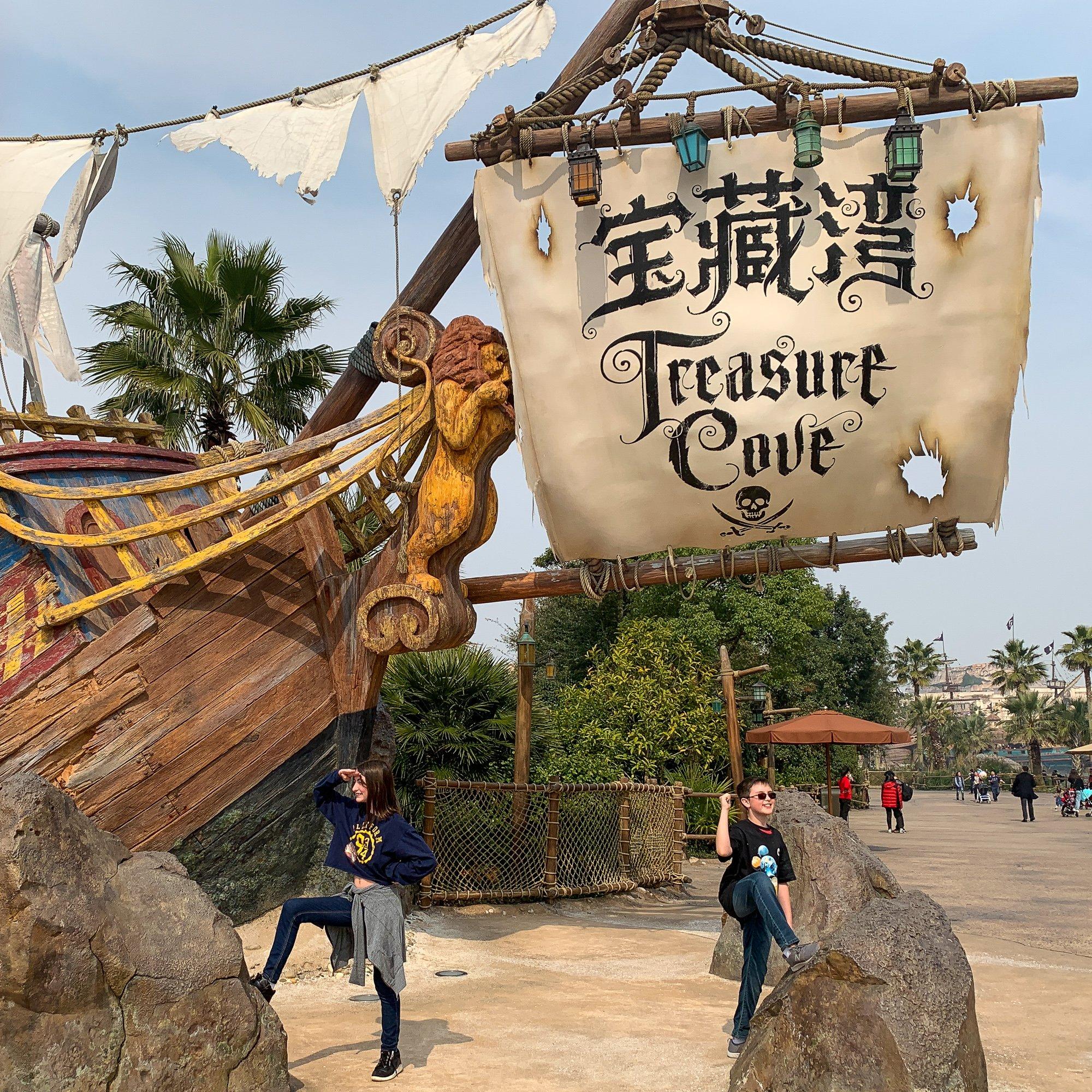 Teen and tween at Treasure Cove at Shanghai Disneyland