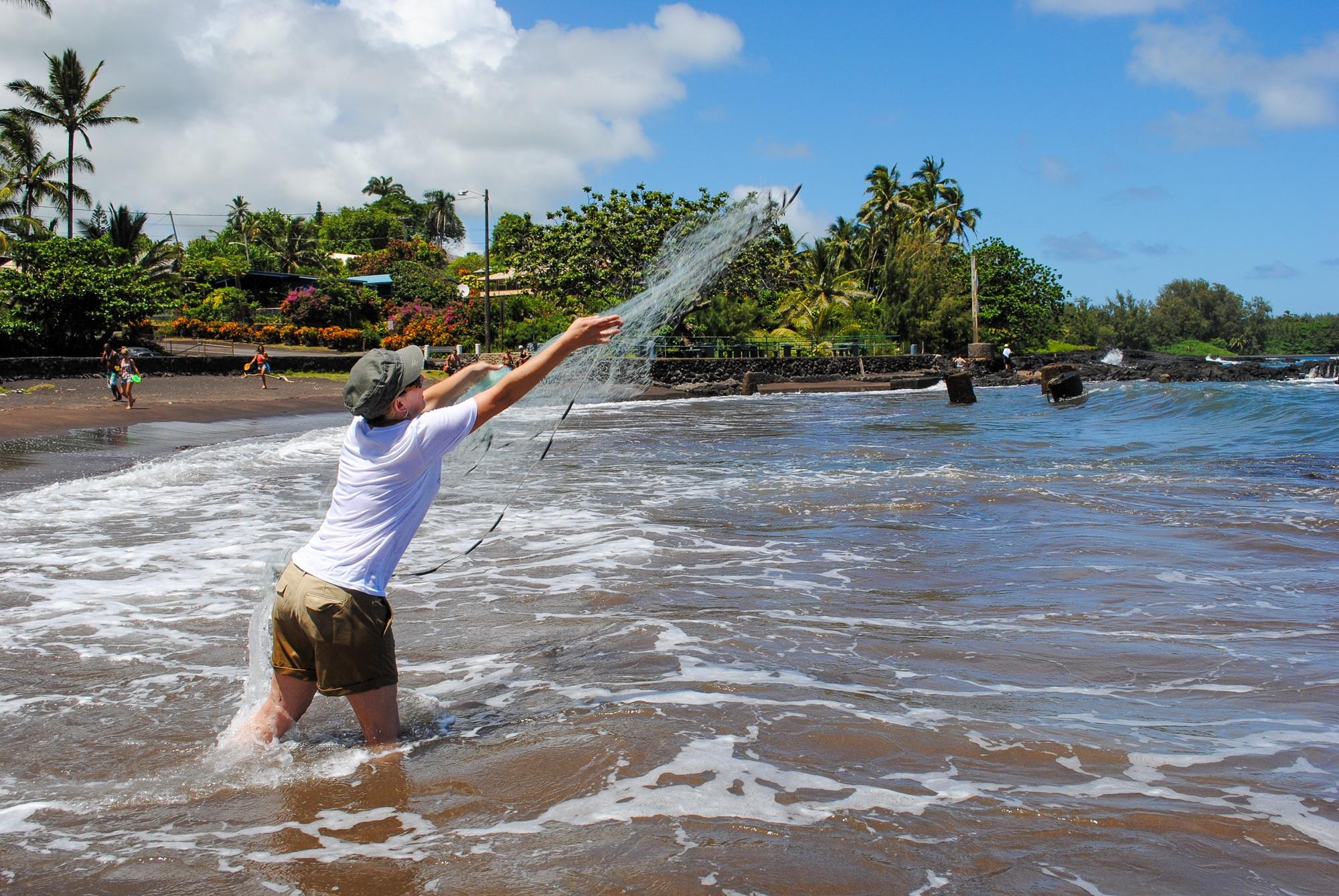 Throw net fishing lesson at Hana Maui Resort