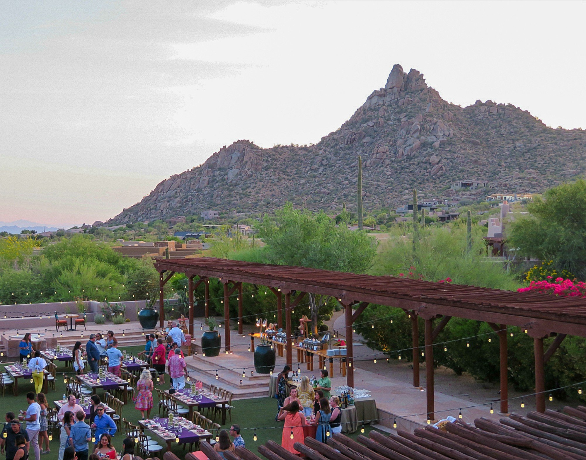 View of wedding and Pinnacle Peak in the distance from Onyx at Four Seasons Scottsdale Resort