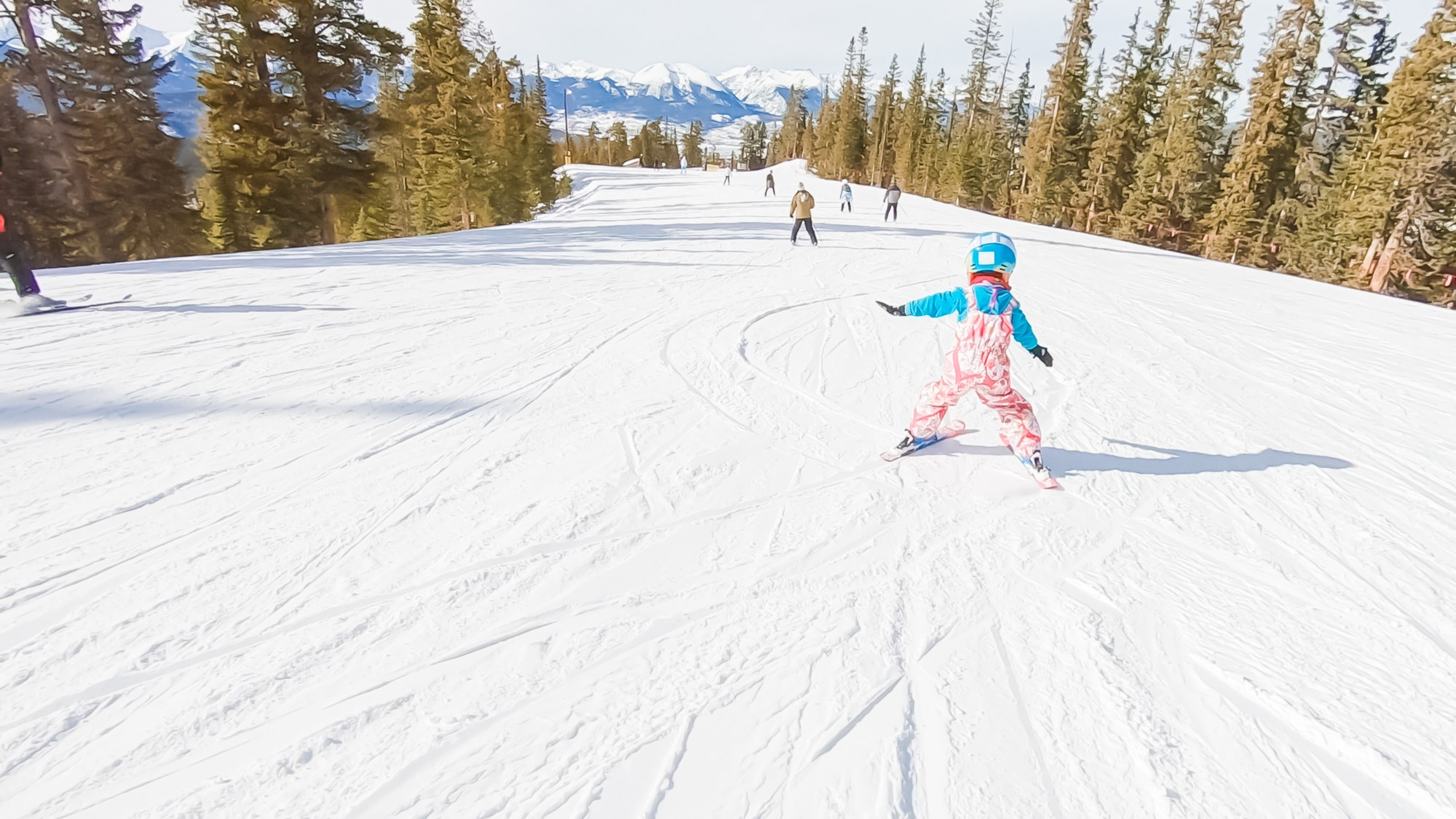 Little girl skiing in Keystone, Colorado