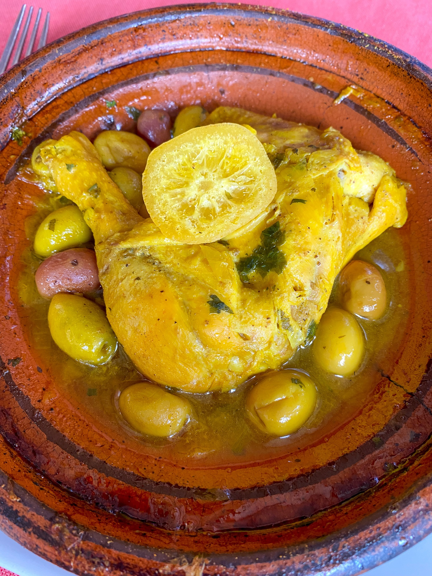 Lemon and olive chicken tagine