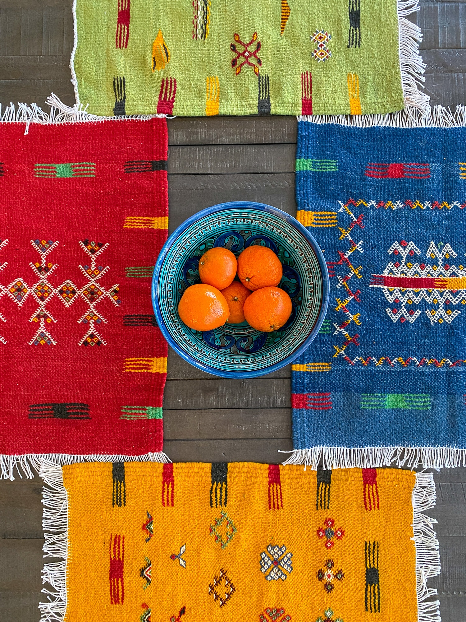 Berber placemats from Aknif Glaoui co-op and ceramic bowl purchased from the souks in Marrakech