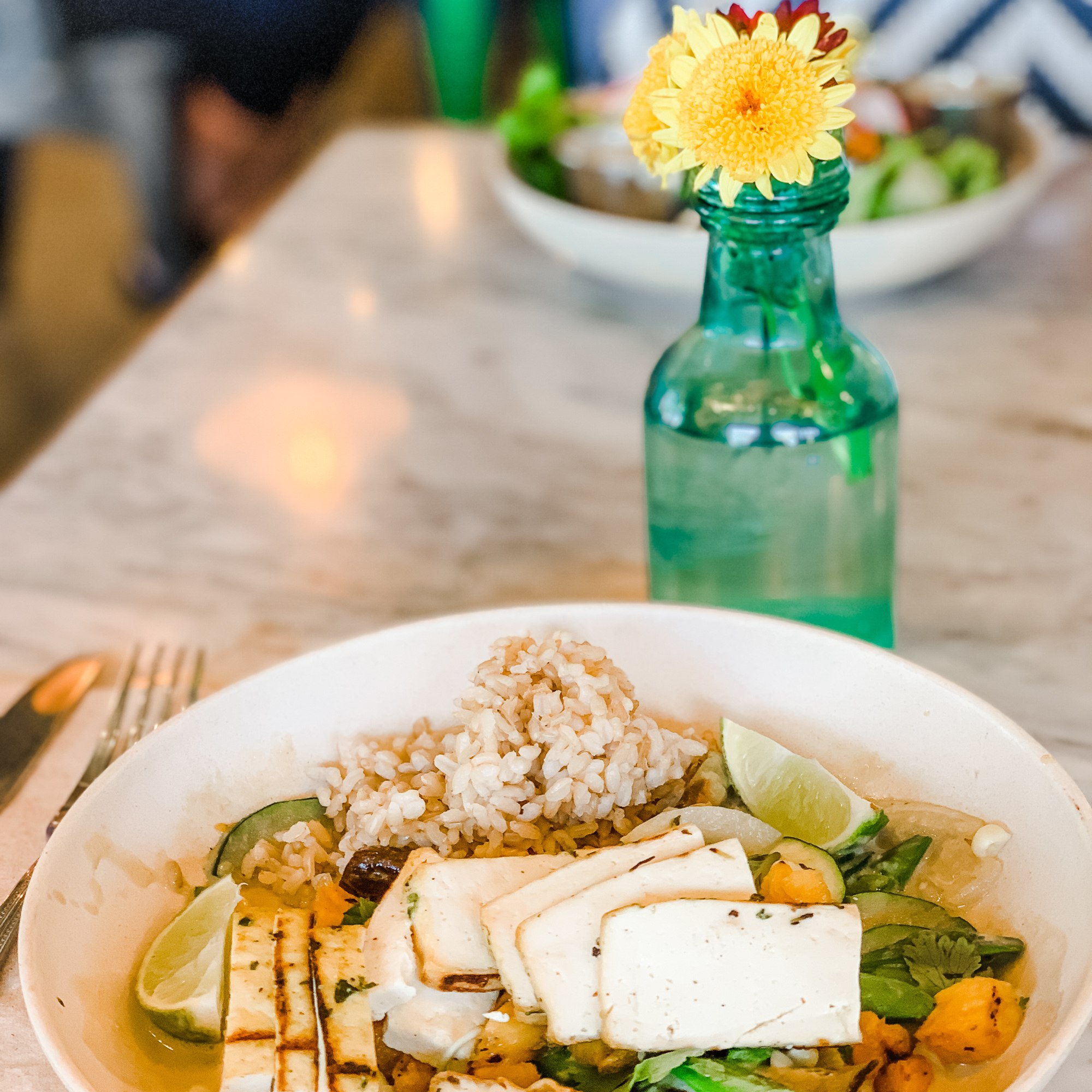 Spicy Coconut Curry with Tofu at Flower Child Scottsdale