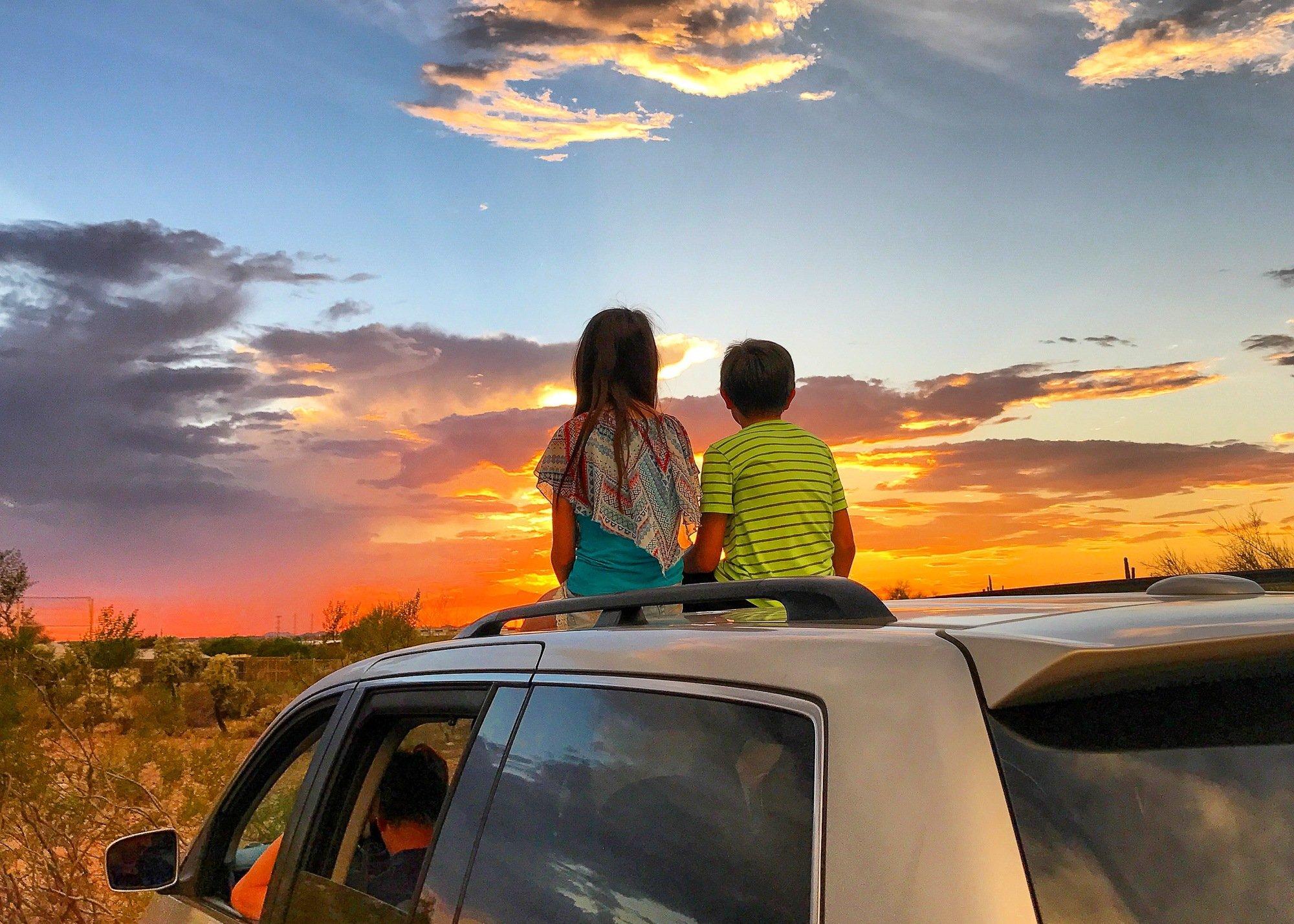 Arizona sunset with kids