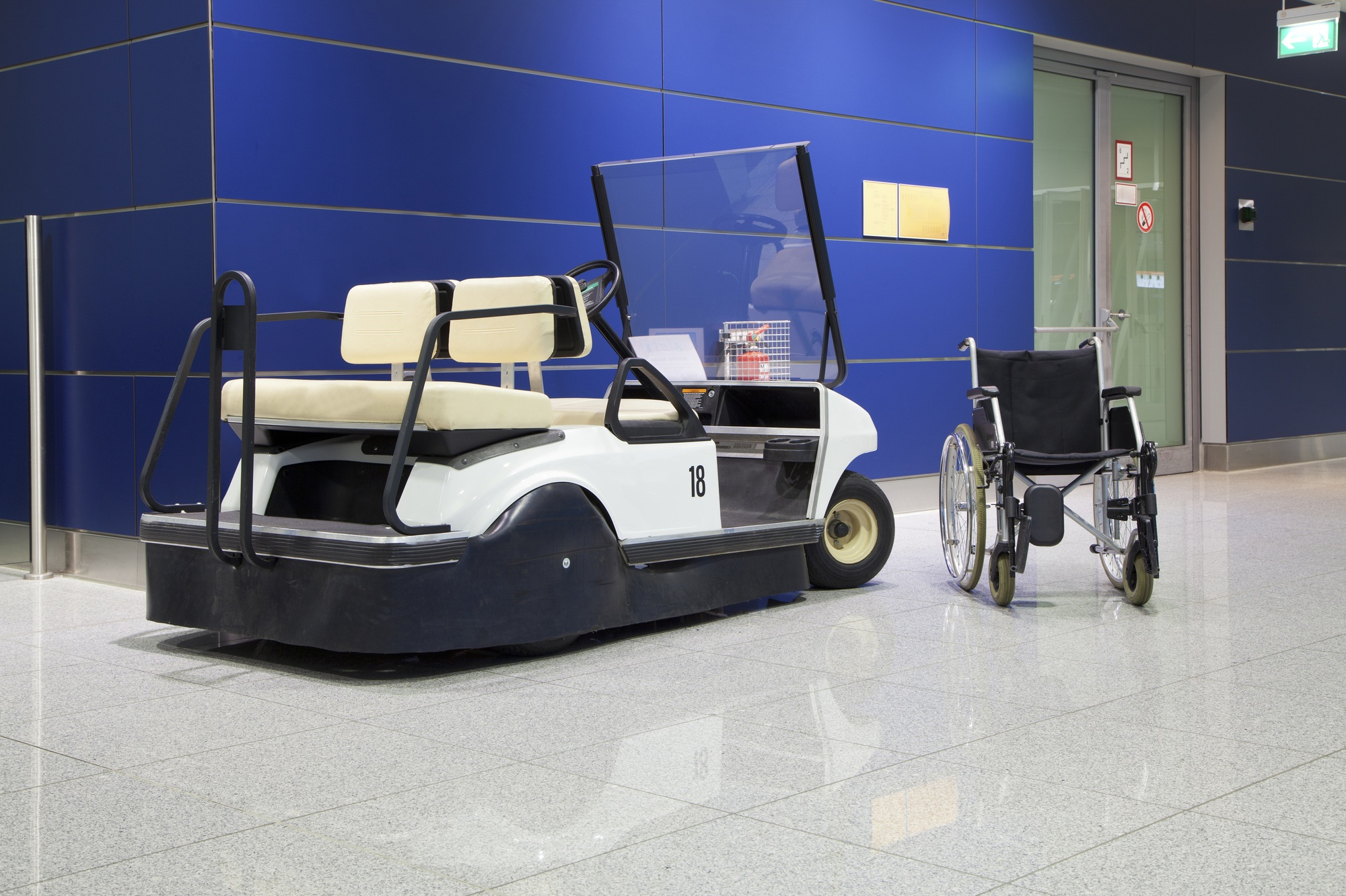 Make use of electric carts at the airport for ease...and fun!