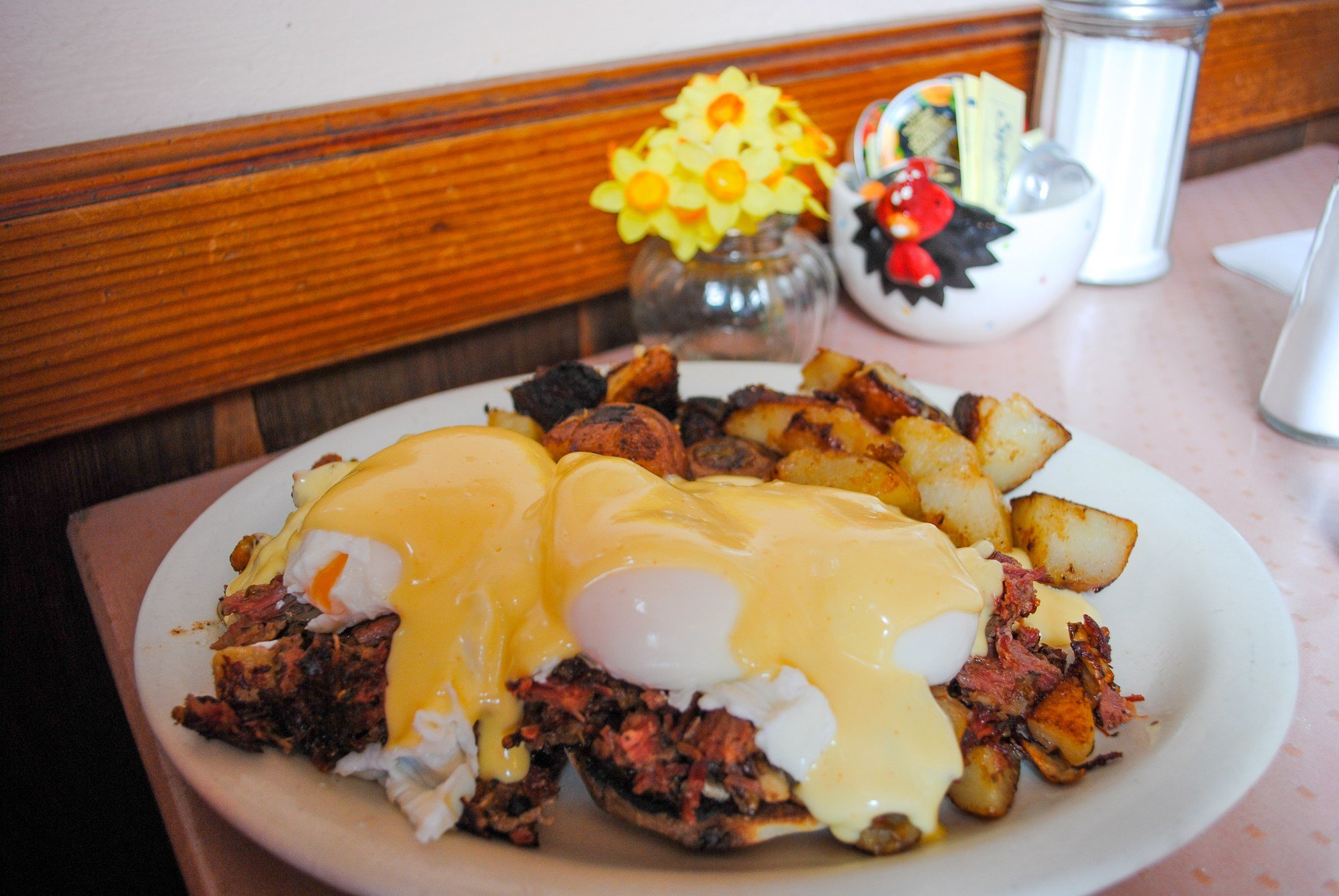 Irish Benedict made with corned beef hash at Katy's Place in Carmel, California